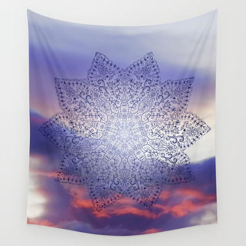 Blue Sky Mandala Wall Tapestry Yoga Meditation Mandala Wall Hanging