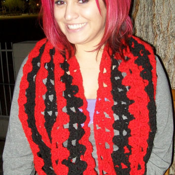 Red and Black Striped Womens Crochet Cowl Scarf