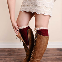 Boot Cuffs Leaf Pattern Lace Trim Wine Burgundy