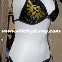 Black bikini splatter triforce eagle Legend of Zelda swimsuit top and bottom