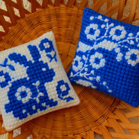 Spring Rabbit Delft Needle Art Mini Pillows SET of TWO