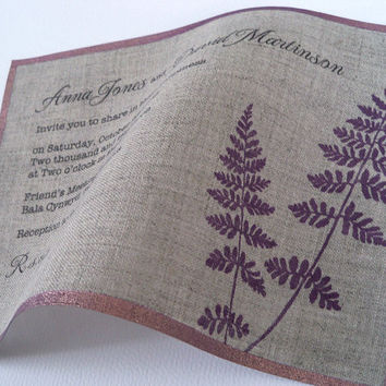 Rustic wedding invitations with fern leaves on natural linen fabric metallic edge -25