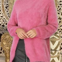 Pink Slit Round Neck Long Sleeve Casual Pullover Sweater