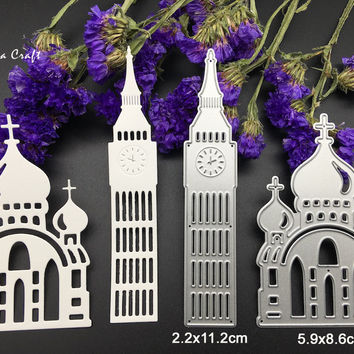 2pc Metal cutting dies for Scrapbook album paper craft home decor embossing stencil template church castle bell tower  die cut
