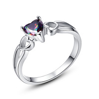 Romantic Heart Design Jewelry Ture Love Wedding Rings Rainbow Topaz 18K White Gold Fashion Ring for Women Lady