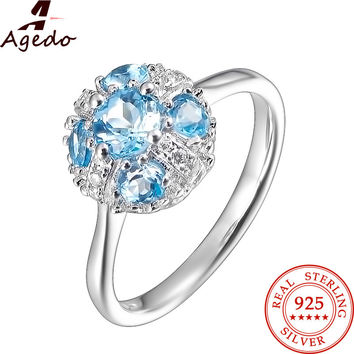 Agedo Round Natural Blue Topaz Fine Jewelry 925 Sterling Silver Ring Jewelry Engagement Rings for Women Anniversary Gift FR05