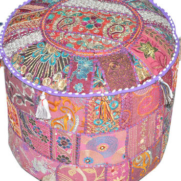 Pretty Indian Pouf ottoman in Purple Stool Vintage Patchwork Living Room Ottoman Cover Hassock bench furniture pouffe footstool bean bag