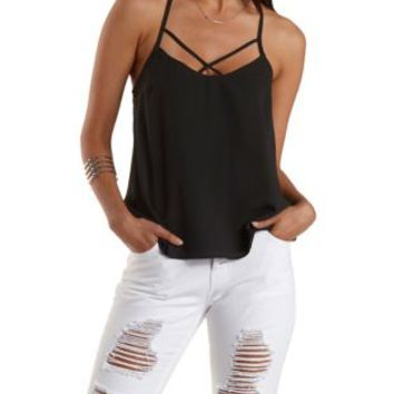 Black Strappy T-Back Swing Tank Top by Charlotte Russe