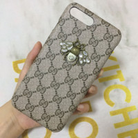 GUCCI New fashion more letter bee diamond phone case Khaki