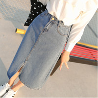 2016 Denim Skirt Saia for Women Faldas Long Jeans Skirt Students Girls High Waist Split Slim Maxi Midi Jeans Skirts Saias Longas