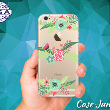 Rose Flowers Pastel Cutout Red Blue Leaves Floral iPhone 5 iPhone 5C iPhone 6 iPhone 6s iPhone 6s Plus and iPhone SE iPhone 7 Clear Case