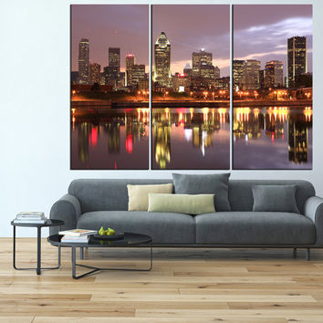 Montreal Skyline wall art Canvas Print, extra large wall art print, montreal art, Montreal print skyline canvas  gallery art t551
