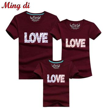 ONETOW Ming Di New 2016 Summer Family Look Cotton LOVE T Shirts Summer Family Matching Clothes Father Mother Kids Outfits Cotton Tees