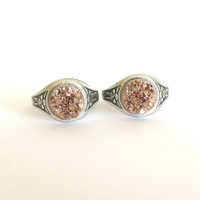 Adjustable Rose Gold Druzy Ring / Antique Silver Oxidized Setting / Boho Chic Faux Druzy Ring / Rose Gold Jewelry