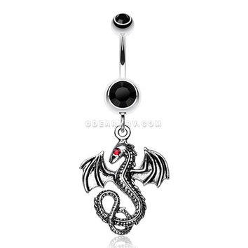 Jeweled Eye Dragon Belly Ring (Black)