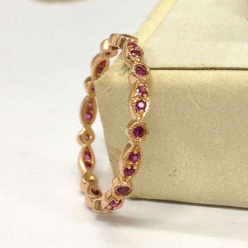 IN STOCK!Ruby Wedding Ring 14K Rose Gold,Full Eternity Matching Band,Art Deco Antique,Anniversary Fine Ring,Stackable,Thin Design