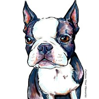 Puppy Boston Terrier Art Print by Cartoon Your Memories
