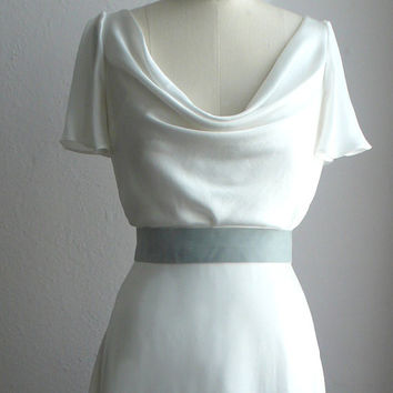 "1930's Inspired Bridal Gown, ""Miller"" Gown, Cowl neck, A line Gown with Flutter Sleeves, Silk Charmeuse, Customizable"