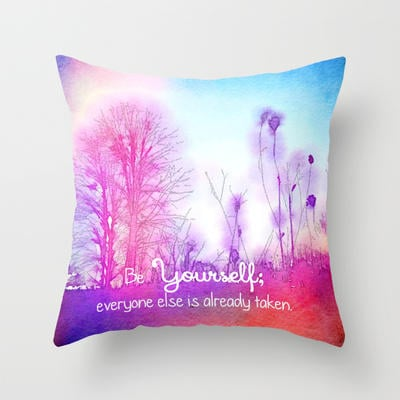 Be Yourself Throw Pillow by Olivia Joy from Society6 Pillows