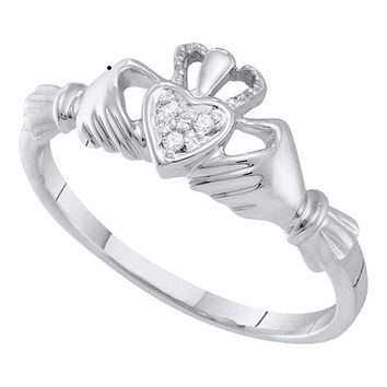 10kt White Gold Women's Round Diamond Claddagh Heart Ring .01 Cttw - FREE Shipping (US/CAN)