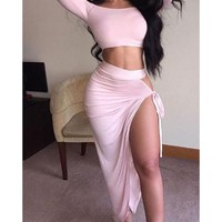Off Shoulder Crop Top with Irregular Skirt Two Pieces Dress Set