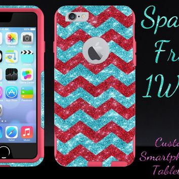 iPhone 6 Case - OtterBox Commuter Series - Retail Packaging - 4.7 iPhone 6 Glitter Red Small Chevron Paradise/Pink