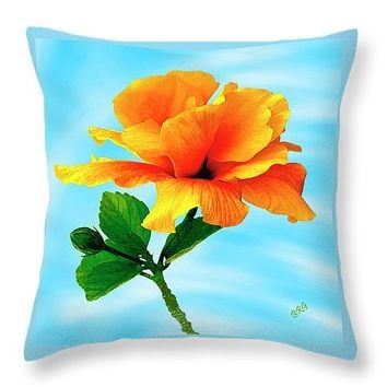 "Pleasure - Yellow Double Hibiscus Throw Pillow for Sale by Ben and Raisa Gertsberg - 16"" x 16"""