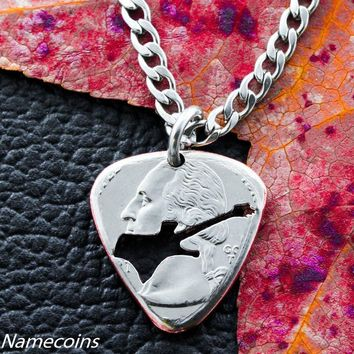 Guitar Pick Necklace, Hand cut and burnished Quarter by Namecoins