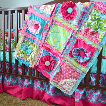 Custom Crib Set in Hot Pink, Turquoise, and Lime Green, Rag Quilt Style, You Design for your Little Girl