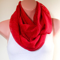 Infinity Scarf Lightweight Designers Lace Crimson Red Round Scarf with Embroidered Spider Web, Berry Red Scarf
