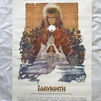 """LABYRINTH"" 1986 ORIGINAL MOVIE POSTER FIRST ISSUE 27X41 DAVID BOWIE CONNELLY"