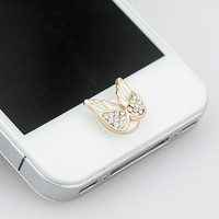 Cute Angel Wings Home Button Sticker for iPhone 4 4s 5 5s = 1646016516