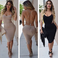 Women's Bandage Bodycon Party Night Club Sleeveless Strapless Slim Summer Dress