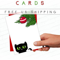 Black Cat Christmas Card, Illustrated Greeting Card, Cat Holiday Cards, Hand Drawn, Cute Cat Christmas Card, Christmas Tree Ornament, Bauble