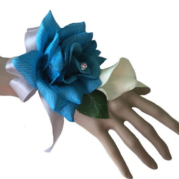 Wrist Corsage- Turquoise rose with real touch calla lily: Pick Ribbon Color