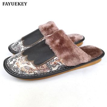 FAYUEKEY Autumn Winter Genuine Leather Print Home Slippers Men Indoor Outdoor Slippers Warm Cotton Plush Flat Shoes Boys Gift