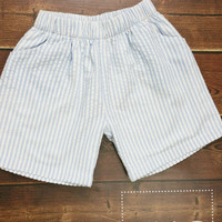Boys Blue and white Seersucker shorts with  Monogram