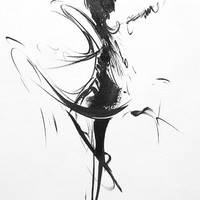 Abstract Ballet Dancer Print, Black and White Wall Art, Ballerina Print Giclee, Dance Art Canvas