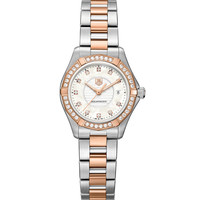 TAG Heur Aquaracer Steel & Rose Gold Watch with Diamonds - Steel and Diamond Watch - ShopBAZAAR