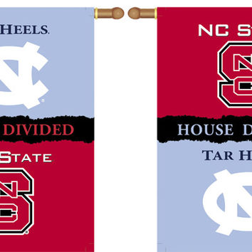 """North Carolina - Nc State 2-Sided 28"""" X 40"""" Banner W/ Pole Sleeve House Divided"""