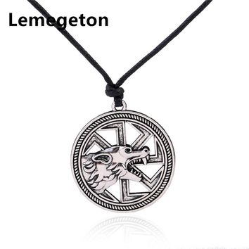 Lemegeton Wicca Slavic Wolf Head Sharp Fangs Mixed Color Round Charm Adjustable Rope Chain Pendants Necklaces Jewelry