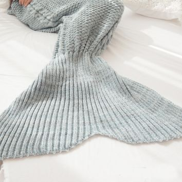 Gray Soft Comfortable Knitted Mermaid Sofa Blanket