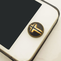 1PC Retro Epoxy Black Cross Transparent Time Gems Alloy  Cell Phone Home Button Sticker Charm for iPhone 4s,4g,5,5c Friendship Gift
