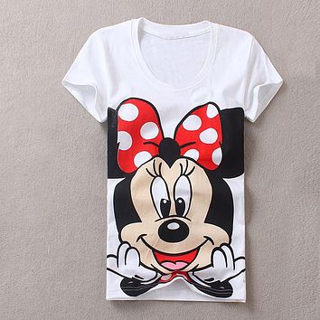 Summer 2017 New T-shirts For Women cartoon minnie mouse printed T-shirt Top Harajuku Tops Shirt Female T-shirt basic T Shirt