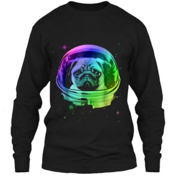 Pug Astronaut In Space T-shirt LS Ultra Cotton Tshirt