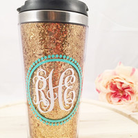 Monogrammed Gold Glitter Stainless Travel Mug
