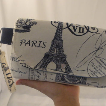 Paris Themed Canvas Clutch with shades of blue lining