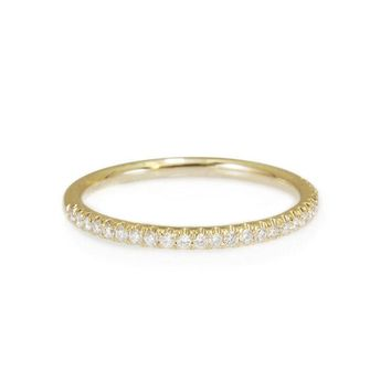 Thin Diamond Wedding Ring - Full Eternity Diamond Wedding Band - 14k Solid Gold Stackable diamond ring - Yellow Gold