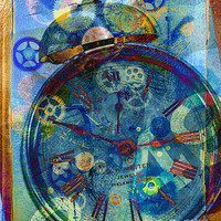 Color Time Digital Art by Fran Riley - Color Time Fine Art Prints and Posters for Sale #clockworks #art #daysray #photography
