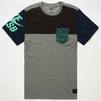 Nike Sb Blocked Out Dri-Fit Mens Pocket Tee Grey  In Sizes
